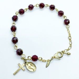 Glass Beaded Catholic Prayer Rosary Bracelet Beads